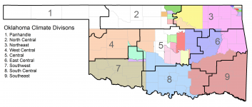 Tribal jurisdictions with climate division boundaries.