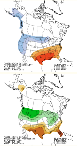 Figure 1: Winter (December through February) forecast for temperature (top) and precipitation (bottom) by the NOAA's Climate Prediction Center http://www.cpc.ncep.noaa.gov/products/predictions/long_range/seasonal.php?lead=1.