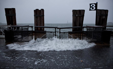 Surge inundating Battery Park, NY on Monday, October 29. Source:Â http://www.slate.com/articles/news_and_politics/gallery/2012/10/hurricane_sandy_floods_the_eastern_seaboard.html