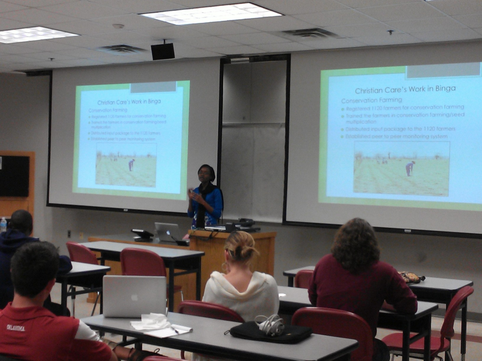Image:Â Xolile Ncube discusses her work during a University of Oklahoma Department of Geography and Environmental Sustainability seminar.